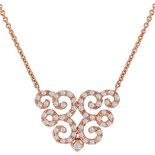 14KT Rose Gold Filigree Scroll Pave Diamond Pendant Chain Necklace, 14KT Rose Gold Filigree Scroll Pave Diamond Pendant Chain Necklace - Legacy Saint Jewelry