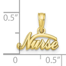 Load image into Gallery viewer, 10KT Yellow Gold Mini Nurse Script Pendant Charm, 10KT Yellow Gold Mini Nurse Script Pendant Charm - Legacy Saint Jewelry