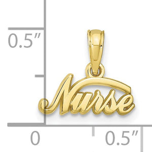 10KT Yellow Gold Mini Nurse Script Pendant Charm, 10KT Yellow Gold Mini Nurse Script Pendant Charm - Legacy Saint Jewelry