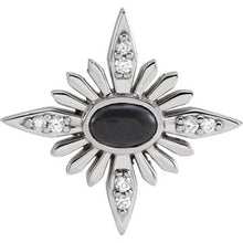 Load image into Gallery viewer, Sterling Silver Onyx + Diamond Celestial Pendant, Sterling Silver Onyx + Diamond Celestial Pendant - Legacy Saint Jewelry