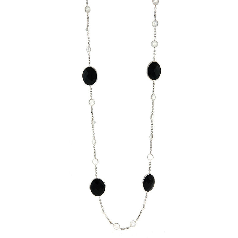 14KT White Gold Moonstone + Onyx Station Chain Necklace 36