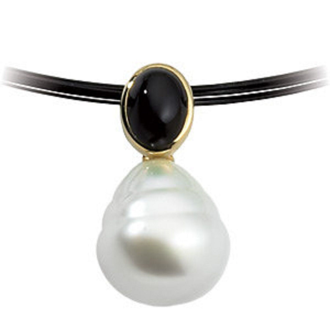 14KT Yellow Gold Black Onyx + Paspaley Pearl Pendant, 14KT Yellow Gold Black Onyx + Paspaley Pearl Pendant - Legacy Saint Jewelry