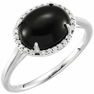Sterling Silver Black Onyx + Halo Diamond Ring Size 7, Sterling Silver Black Onyx + Halo Diamond Ring Size 7 - Legacy Saint Jewelry