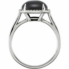 Load image into Gallery viewer, Sterling Silver Black Onyx + Halo Diamond Ring Size 7, Sterling Silver Black Onyx + Halo Diamond Ring Size 7 - Legacy Saint Jewelry