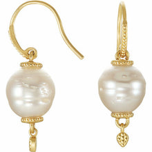 Load image into Gallery viewer, 14KT Yellow Gold Paspaley South Sea Pearl Ornate Hook Earrings, 14KT Yellow Gold Paspaley South Sea Pearl Ornate Hook Earrings - Legacy Saint Jewelry