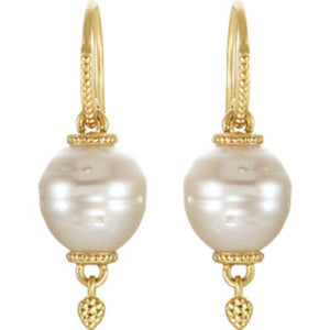 14KT Yellow Gold Paspaley South Sea Pearl Ornate Hook Earrings, 14KT Yellow Gold Paspaley South Sea Pearl Ornate Hook Earrings - Legacy Saint Jewelry
