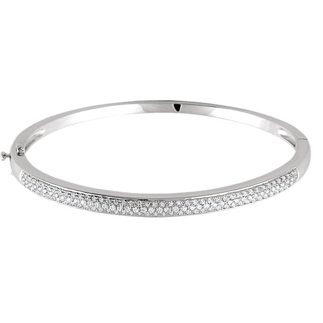 14KT White Gold Pave Diamond Bangle Bracelet, 14KT White Gold Pave Diamond Bangle Bracelet - Legacy Saint Jewelry