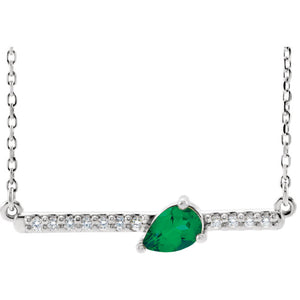 14KT White Gold Diamond + Teardrop Emerald Bar Necklace, 14KT White Gold Diamond + Teardrop Emerald Bar Necklace - Legacy Saint Jewelry