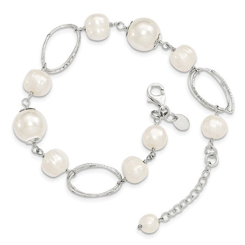 Sterling Silver Freshwater Pearl Oval Link Bracelet, Sterling Silver Freshwater Pearl Oval Link Bracelet - Legacy Saint Jewelry