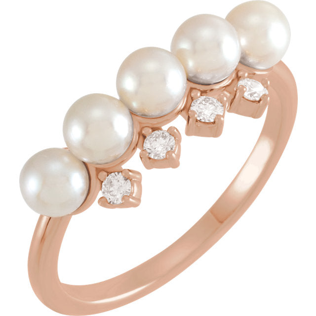 14KT Rose Gold Akoya Pearl + Diamond Ring, 14KT Rose Gold Akoya Pearl + Diamond Ring - Legacy Saint Jewelry