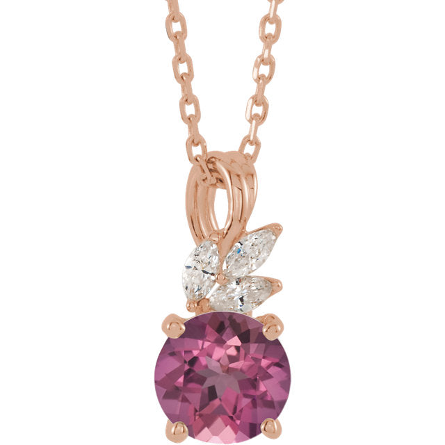 14KT Rose Gold Pink Tourmaline + Marquise Diamond Necklace, 14KT Rose Gold Pink Tourmaline + Marquise Diamond Necklace - Legacy Saint Jewelry
