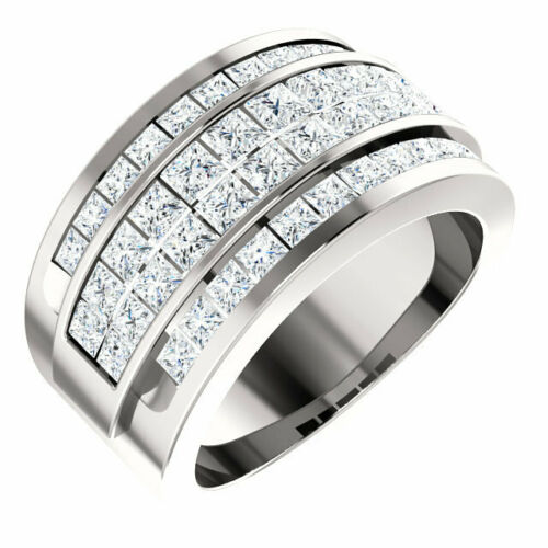 14KT White Gold 4-Row Princess Cut Diamond Ring, 14KT White Gold 4-Row Princess Cut Diamond Ring - Legacy Saint Jewelry