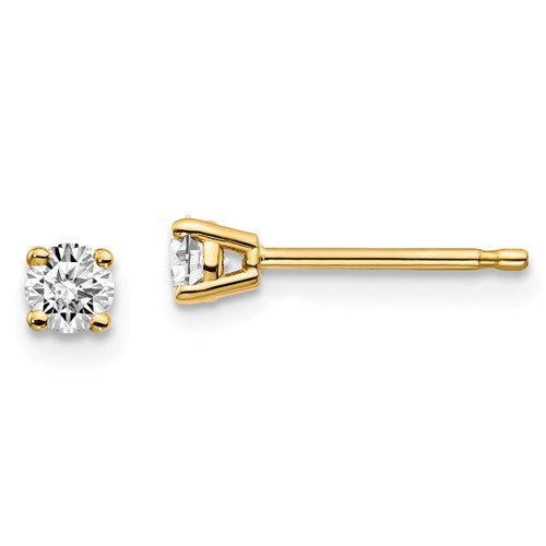 14KT Yellow Gold 1/4 CTW Lab Diamond 4 Prong Stud Earrings, 14KT Yellow Gold 1/4 CTW Lab Diamond 4 Prong Stud Earrings - Legacy Saint Jewelry