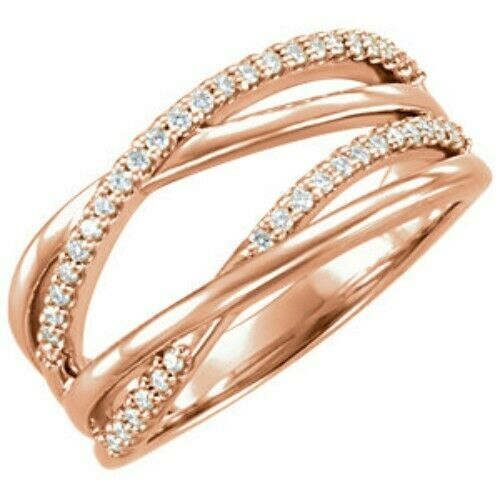 14KT Rose Gold Pave Diamond Weave Band Ring, 14KT Rose Gold Pave Diamond Weave Band Ring - Legacy Saint Jewelry