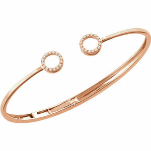 14KT Rose Gold Pave Diamond Circles Open Bangle Bracelet, 14KT Rose Gold Pave Diamond Circles Open Bangle Bracelet - Legacy Saint Jewelry
