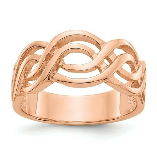 14KT Rose Gold Infinity Weave Band Ring, 14KT Rose Gold Infinity Weave Band Ring - Legacy Saint Jewelry