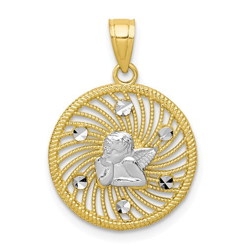 10KT Yellow Gold + White Rhodium Angel Medal Pendant Charm, 10KT Yellow Gold + White Rhodium Angel Medal Pendant Charm - Legacy Saint Jewelry