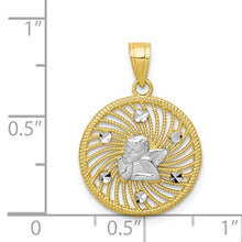 Load image into Gallery viewer, 10KT Yellow Gold + White Rhodium Angel Medal Pendant Charm, 10KT Yellow Gold + White Rhodium Angel Medal Pendant Charm - Legacy Saint Jewelry