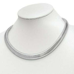 Sterling Silver Ribbed Neck Wire Collar Necklace 16mm, Sterling Silver Ribbed Neck Wire Collar Necklace 16mm - Legacy Saint Jewelry