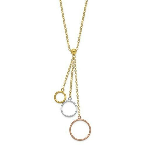 14KT Rose Gold, Yellow Gold + White Gold Rolo Circles Lariat Necklace, 14KT Rose Gold, Yellow Gold + White Gold Rolo Circles Lariat Necklace - Legacy Saint Jewelry