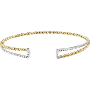 14KT Yellow Gold + White Gold Twisted Rope Cuff Bangle Bracelet, 14KT Yellow Gold + White Gold Twisted Rope Cuff Bangle Bracelet - Legacy Saint Jewelry