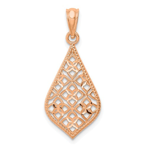 14KT Rose Gold Diamond-Cut Teardrop Pendant, 14KT Rose Gold Diamond-Cut Teardrop Pendant - Legacy Saint Jewelry