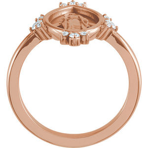 14KT Rose Gold Diamond Miraculous Medal Ring, 14KT Rose Gold Diamond Miraculous Medal Ring - Legacy Saint Jewelry