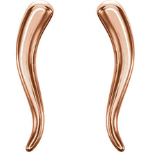 "Load image into Gallery viewer, 14KT Rose Gold ""Cornicello"" Italian Horn Stud Earrings, 14KT Rose Gold ""Cornicello"" Italian Horn Stud Earrings - Legacy Saint Jewelry"