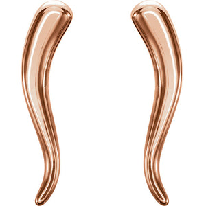 "14KT Rose Gold ""Cornicello"" Italian Horn Stud Earrings, 14KT Rose Gold ""Cornicello"" Italian Horn Stud Earrings - Legacy Saint Jewelry"