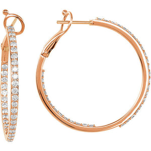 14KT Rose Gold Diamond Inside-Outside Hoop Earrings 30mm, 14KT Rose Gold Diamond Inside-Outside Hoop Earrings 30mm - Legacy Saint Jewelry