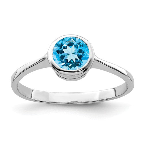 Sterling Silver Round Blue Topaz Ring, Sterling Silver Round Blue Topaz Ring - Legacy Saint Jewelry