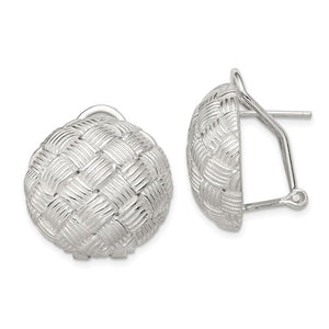 Sterling Silver Round Fancy Omega Back Earrings, Sterling Silver Round Fancy Omega Back Earrings - Legacy Saint Jewelry