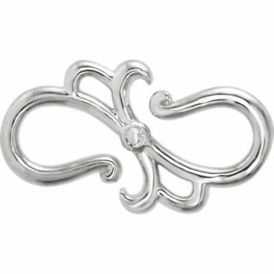 14KT White Gold Stylized S-Hook Extender Clasp, 14KT White Gold Stylized S-Hook Extender Clasp - Legacy Saint Jewelry