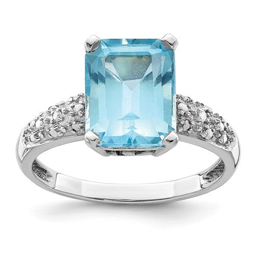Sterling Silver + 14KT Yellow Gold Sky Blue Topaz + Diamond Ring, Sterling Silver + 14KT Yellow Gold Sky Blue Topaz + Diamond Ring - Legacy Saint Jewelry