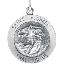 Load image into Gallery viewer, Sterling Silver Saint Michael Round Medal Pendant, Sterling Silver Saint Michael Round Medal Pendant - Legacy Saint Jewelry