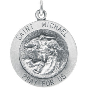 Sterling Silver Saint Michael Round Medal Pendant, Sterling Silver Saint Michael Round Medal Pendant - Legacy Saint Jewelry