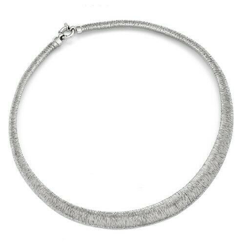 Sterling Silver Textured Ring Collar Necklace 18