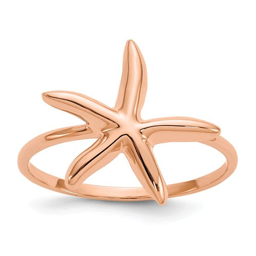 14KT Rose Gold Starfish Ring, 14KT Rose Gold Starfish Ring - Legacy Saint Jewelry