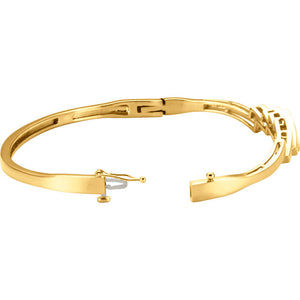 14KT Yellow Gold Stepped Hinged Bangle Bracelet, 14KT Yellow Gold Stepped Hinged Bangle Bracelet - Legacy Saint Jewelry