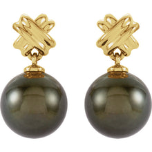 Load image into Gallery viewer, 14KT Yellow Gold Tahitian Black Pearl Earrings, 14KT Yellow Gold Tahitian Black Pearl Earrings - Legacy Saint Jewelry
