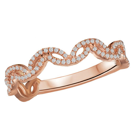 14KT Rose Gold Thin Wave Pave Diamond Ring, 14KT Rose Gold Thin Wave Pave Diamond Ring - Legacy Saint Jewelry
