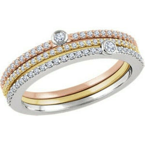14KT Rose Gold, White Gold + Yellow Gold Pave Diamond Ring Set, 14KT Rose Gold, White Gold + Yellow Gold Pave Diamond Ring Set - Legacy Saint Jewelry
