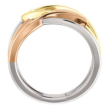 Load image into Gallery viewer, 14KT Rose Gold, White Gold + Yellow Gold Criss-Cross Ring, 14KT Rose Gold, White Gold + Yellow Gold Criss-Cross Ring - Legacy Saint Jewelry