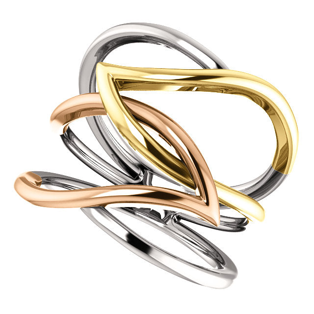 14KT Rose Gold, White Gold + Yellow Gold Criss-Cross Ring, 14KT Rose Gold, White Gold + Yellow Gold Criss-Cross Ring - Legacy Saint Jewelry