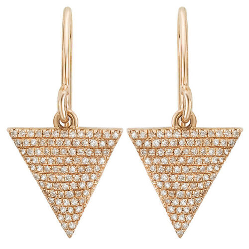 14KT Rose Gold Pave Diamond Triangle Dangle Earrings, 14KT Rose Gold Pave Diamond Triangle Dangle Earrings - Legacy Saint Jewelry
