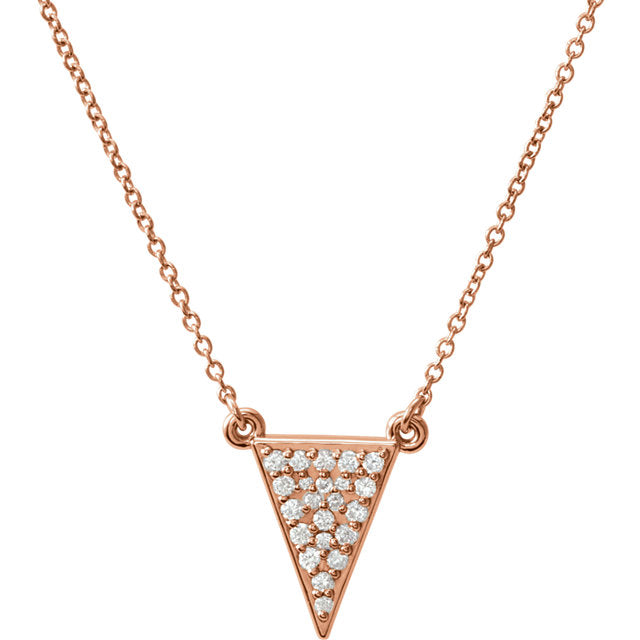 14KT Rose Gold Diamond Triangle Necklace, 14KT Rose Gold Diamond Triangle Necklace - Legacy Saint Jewelry