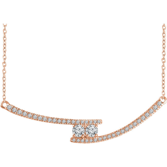 14KT Rose Gold Diamond Two Stone Bar Necklace, 14KT Rose Gold Diamond Two Stone Bar Necklace - Legacy Saint Jewelry