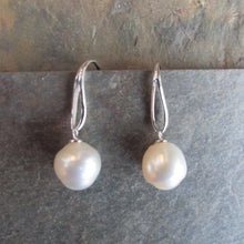 Load image into Gallery viewer, 14KT White Gold Paspaley Pearl Unique Hook Earrings, 14KT White Gold Paspaley Pearl Unique Hook Earrings - Legacy Saint Jewelry