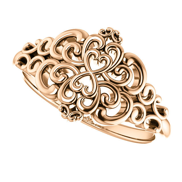 14KT Rose Gold Vintage-Inspired Filigree Ring, 14KT Rose Gold Vintage-Inspired Filigree Ring - Legacy Saint Jewelry