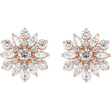 Load image into Gallery viewer, 14KT Rose Gold Diamond Vintage Flower Stud Earrings, 14KT Rose Gold Diamond Vintage Flower Stud Earrings - Legacy Saint Jewelry